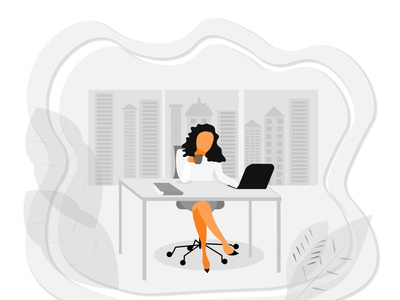 Businesswoman in an office in megapolice jobs grey ceo manager desktop laptop success profit money workspace urban skyscrapers office worker office work office businesswoman style corporate megapolice business