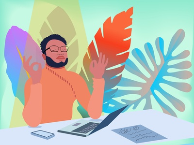 Relax at work character illustration flat harmony orange life balance nirvana relax black man sitting laptop palm leaves floral meditating man workspace office
