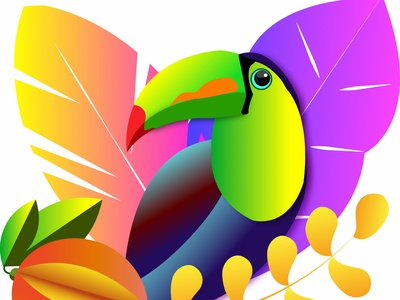 Colorful toukan in tropical background flat banana forest looking mango exotic brazilian eco nature leaves floral fruit tropical bird illustration