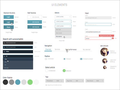 UI Elements — work in progress ui ui elements style guide guides kit toolkit primetag