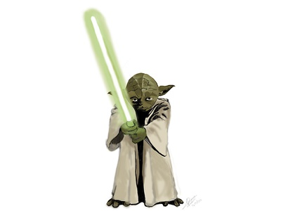 May the Force be with you force green wars star bamboo wacom illustration yoda