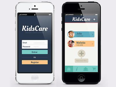 My first App app ui ux design flat kids mobile care login form