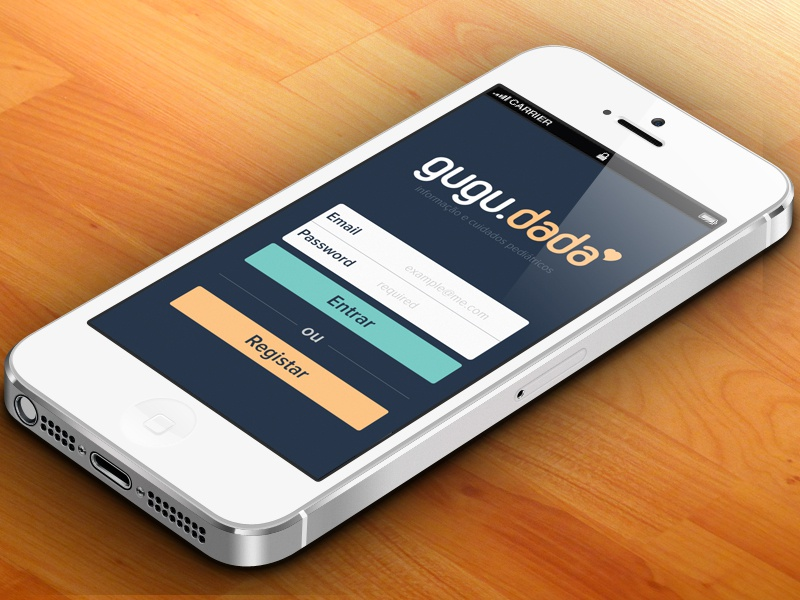 Gugudada  app ui ux design flat kids mobile care login form