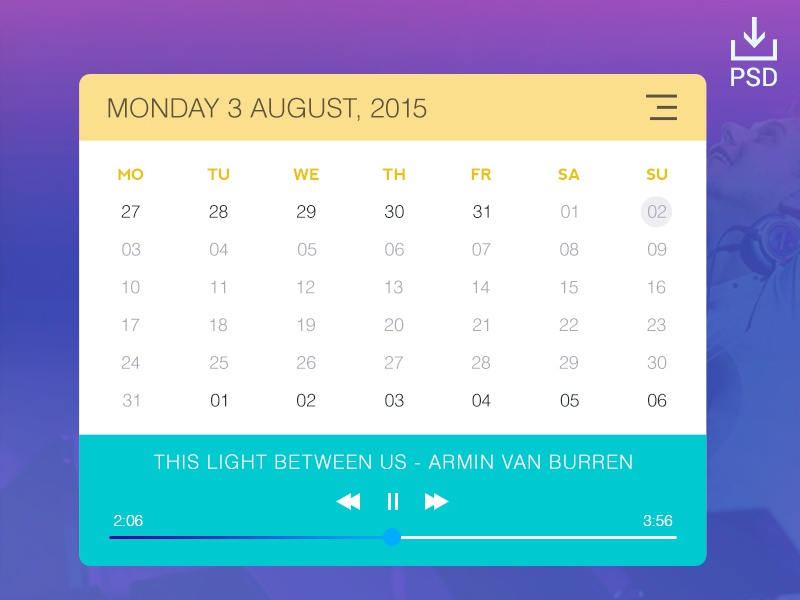 Calendar & Music Widget by Awais Ali | Dribbble | Dribbble