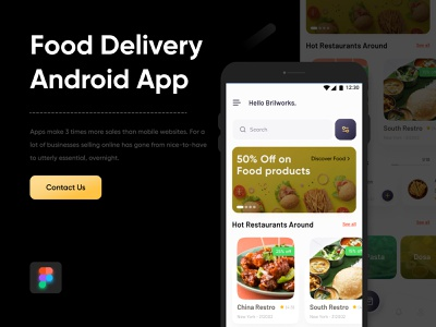 Food Delivery App icon minimal design flat android uiuxdesign figma home screen uidesign 2020 design food app