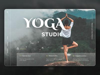 Web Header for Yoga Studio ui web herosection figma dailyui branding glassmorphism ui design ux design minimal landing page exercise wellness fitness yoga yogastudio meditation