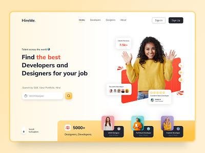 HireMe - IT talent across the world ui sketch photoshop web minimal logotype flat character design branding dribbble talent job designer freelancer