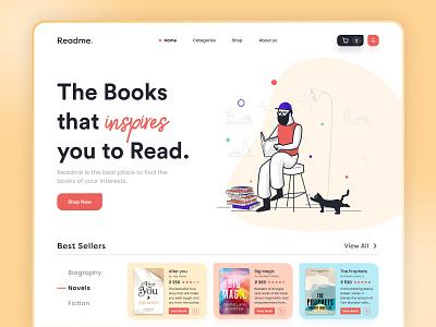 Book Shop - Readme landing page ui design trending minimal store web header library book app online book ebook book store book