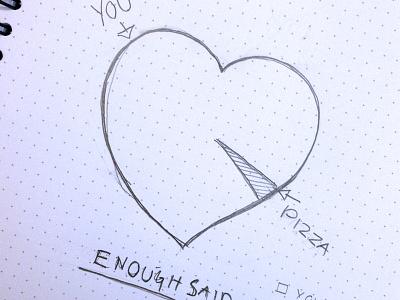 Enough Said pizza valentine sketch