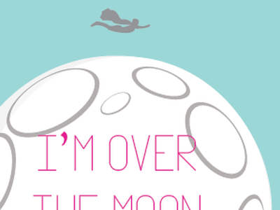 Im over the moon for you flying moon valentine card superhero valentines