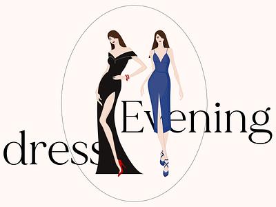 Evening dress illustration, e-commerce shopping branding dress vector design flat illustration ecommerce dribbble