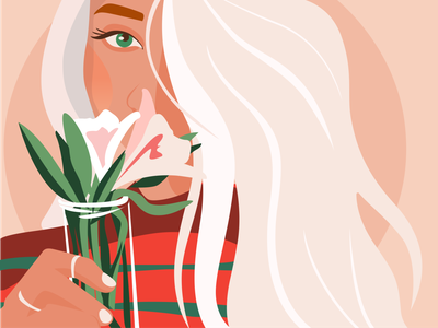 Hello, spring! illustration hello world flowers flat vector illustrator graphic design digital art illustration spring season girl nature dribbble