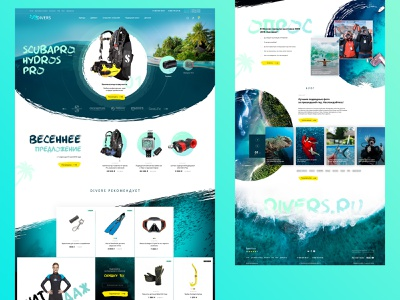 Divers / Title grid promo blocks ocean blue diving sea divers news catalog ui ecommerce layout design site