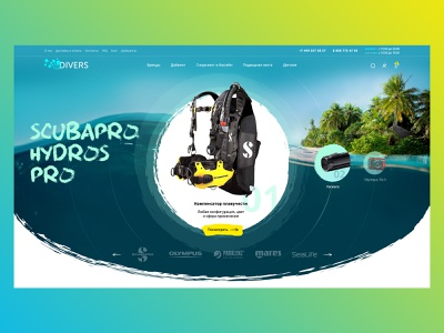 Divers slider promo sport extreme relax sea dive catalog fold diving divers ecommerce layout design site