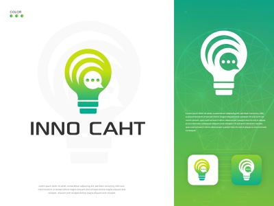 inno chat design brand identity logo modern creative minimalist flat modern logo light bulb tech innovation text logo communication