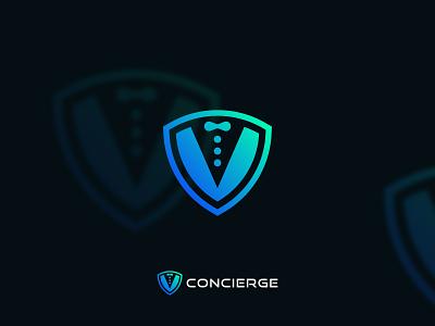 concierge flat logo mark design professional guard shield security illustration design logo brand identity minimalist logo logotype logodesign modern logo logo design