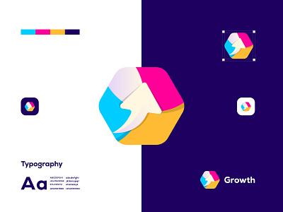 Growth brand identity design illustration modern logo logodesign abstract unique logo logotype business creative modern logo deisng branding
