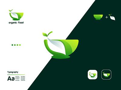 Organic food startup company business branding icon app monogram symbol playful colorful healthy food natural green food bowl leaf restaurant logos organic food design flat logo minimalist logo brand identity logodesign logotype logo design modern logo