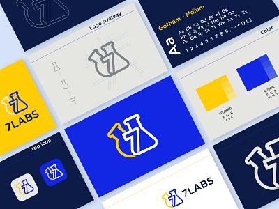 7 lab | style guide unique minimalist techy innovative software technology lab business creative style guide brand identity modern logo logo design branding