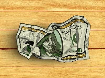 Crumpled up dollar