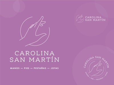 Carolina San Martín salon purple pink lines woman jewelry foot nail salon hair salon brand illustration brand identity logo branding