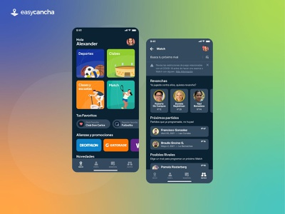 easycancha schedule sport app sports ui app ui app designer dark theme mode dark dark mode mobile app design app design