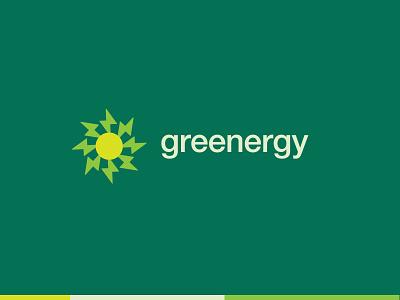 greenergy sun sun logo sun typography design brand brand design flat branding brand identity logo