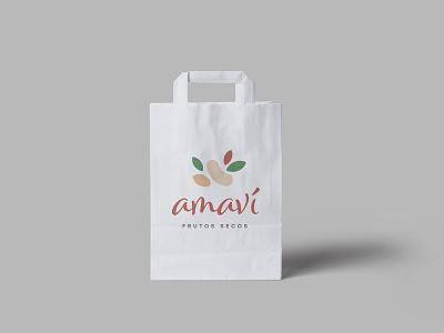 amavi tshirt paper bag bag nuts typography vector design brand brand design flat branding brand identity logo