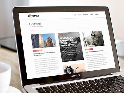 Extremist WordPress theme – grid blog layout wordpress theme portfolio blog premium masonry minimal themeforest