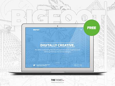 BigFoot, a FREE big, bold premium WordPress theme for creatives free premium wordpress theme freebie ecommerce big bold flat