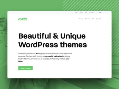 New Evolve website clean typography flat development wordpress