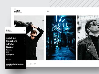 Zena, a minimalistic theme for photographers typography minimal ux ui responsive theme wordpress photographer