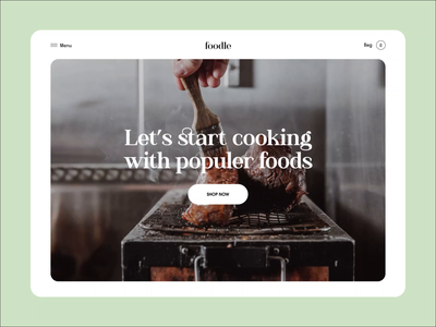 Foodle Web Animation foodweb landing project web uidesign homepage websitedesign interface orix minimal ux ui uiux agency clean food web design animation webanimation landing page