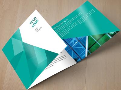 Square Green Geometric Pattern Trifold  trifold template sale pattern modern minimal green graphicriver geometric download brochure