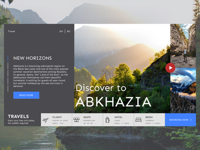 Abkhazia hotel booking discover travel resort sea sun mountain trip web landingpage design
