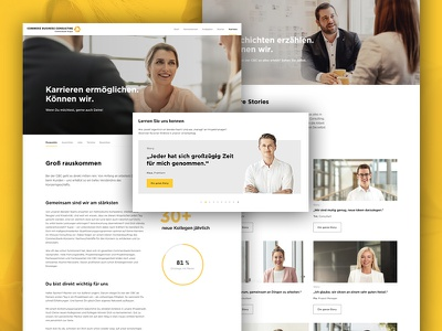 Commerz Business Consulting photo website webdesign web ui interface white black flat design yellow