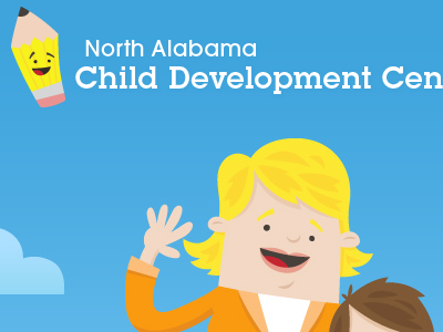 North Alabama Child Development Center illustration colorful fun kids coaches loupe