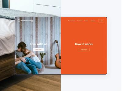 Accommodation.co.uk interaction concept branding interaction landing web design website animation ux ui