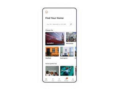 Property search app application app design app design website animation ux ui