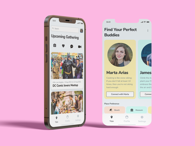 Perfect buddies: Social Media App for Gathering & Find  Friends ux research design interaction design figma adobe xd dribbbleindo