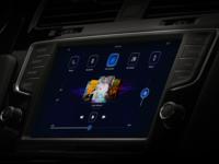 Car dashboard media player blue dark google touch player ui media player media dashboad car