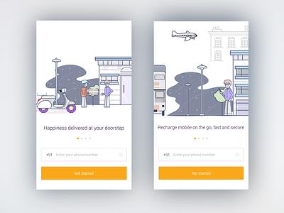 Tutorial screens compass onboarding travel ux flat app ui illustration design vector tutorial
