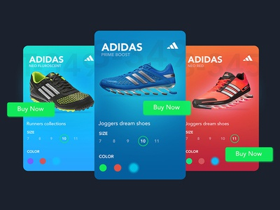 Adidas Card colors fluorescent shopping e-commerce google gradient ui cards shoes adidas