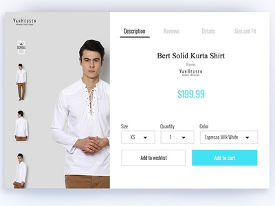 E Commerce e-commerce shopping web ui neat simple clean van heusen clothing dress