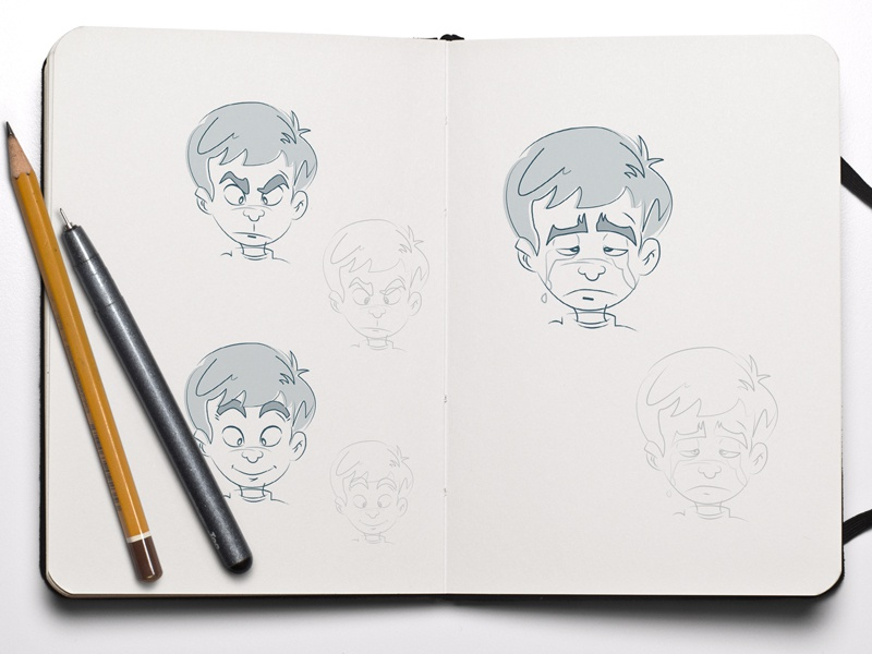 Emotions neat angry sad happy emotions character illustrations pencil drawing