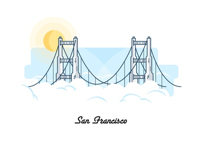 San Fran: Soon Very Soon bridge golden gate us google line drawing city illustration san francisco