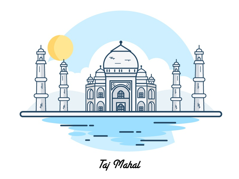Taj Mahal: Happy republic day building vector house india monuments drawing line illustration taj mahal