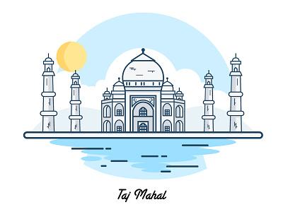 Taj Mahal: Happy republic day building vector house india monuments drawing line illustration taj mahal