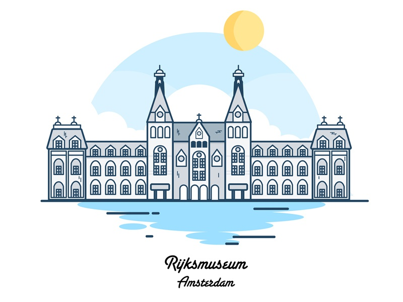 Amsterdam Rijksmuseum simple museum design clouds amsterdam city vector icon illustration flat