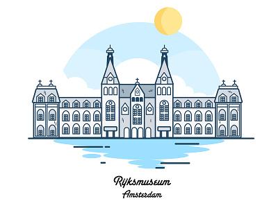 Amsterdam Rijksmuseum simple museum design clouds amsterdam city vector icon illustration flat